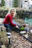 Women gardening. Beautiful woman in the yard gardening Stock Photography