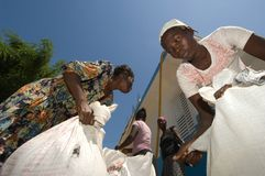 Women Gathering Rations. September 27, 2008 - Women  in Gonaives, Haiti, collect dried beans and vegetable oil at a distribution site for those affected by Royalty Free Stock Photos