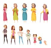 Women Generation Decorative Icons Set. Women generation flat colored icons set of all age categories from infancy to maturity isolated cartoon vector Royalty Free Stock Images