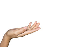 Women gesture of the hand. White background Royalty Free Stock Photo
