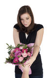 Women get bouquet Stock Photography