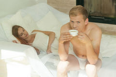 Women gets breakfast in bed Royalty Free Stock Image