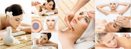 Women getting spa treatment. Health, medicine and recreation col Stock Photos
