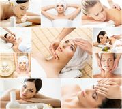 Girls getting spa treatment. Health, medicine and recreation collage. Healing and massaging concept. Royalty Free Stock Photography