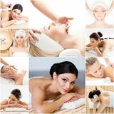 Women getting spa treatment. Health, medicine and recreation collage. Royalty Free Stock Photography