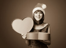 Women with gift box. Royalty Free Stock Photo
