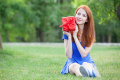Women with gift Royalty Free Stock Images