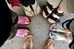 Women and girl feet Stock Photography