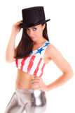 Women girl with hat isolated on white background disco Royalty Free Stock Photography