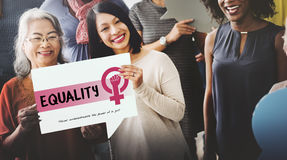 Women Girl Power Feminism Equal Opportunity Concept. Equality is good for community stock images