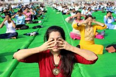 4th International Yoga Day celebrated in Bhopal Royalty Free Stock Photo