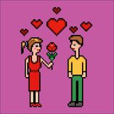 Women gives flower to a man, valentines day, pixel art vector illustration. Retro video game style vector illustration