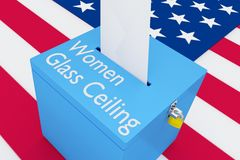 Women Glass Ceiling concept. 3D illustration of Women Glass Ceiling script on a ballot box, with US flag as a background Stock Images