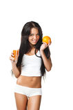Women with the glass of orange juice Royalty Free Stock Photo