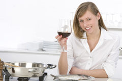 Women with glass of wine Royalty Free Stock Photos