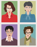 Women with glasses cartoon avatars. Women with glasses avatars - vector cartoon colorful illustration Stock Image
