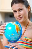 Women with globe Stock Photos