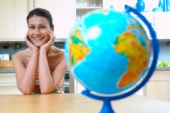 Women with globe Stock Images