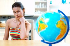 Women with globe Royalty Free Stock Image