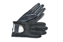 Women gloves on a white background. Black leather gloves Royalty Free Stock Images
