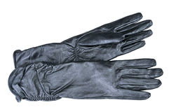 Women gloves on a white background. Black long leather gloves Stock Photography