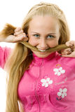Women is gnawing her hair. Stock Photography