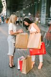 Shopping women new things purchases concept. Women go shopping to buy new things. purchases concept. Girls happiness. Fashion passion Royalty Free Stock Image