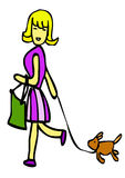 Women goes shopping with dog. A woman goes with a green bag and hurry dog on a lead from the shop Royalty Free Stock Photo
