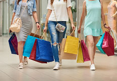 Women Going Shopping Long Legs Royalty Free Stock Photos