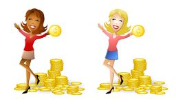 Women With Gold Coins Cash. An illustration featuring your choice of women holding gold coins and standing in front of piles of coins - african american and Stock Image