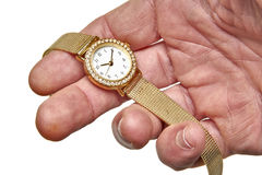Women gold watch with the brilliants Royalty Free Stock Image