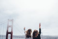 Women at Golden Gate Bridge Stock Photos