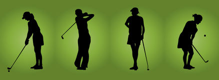 Women At Golf. Silhouette of four women playing golf on green background Royalty Free Stock Image