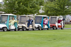 Women in Golf Carts Stock Photo