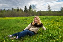Women on green field. Sibir. Russia Stock Images
