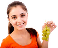 Women  with green grape Stock Photos