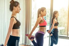 Women group aerobic in fitness gym class stock images