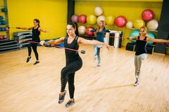 Women group exercising on fitness training. Female sport teamwork in gym. Girs doing fit exercise Royalty Free Stock Photos