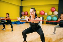 Women group on fitness training, aerobic. Female sport teamwork in gym. Girs doing fit exercise Royalty Free Stock Images