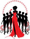 Women group graphic silhouettes. Different person Stock Photos