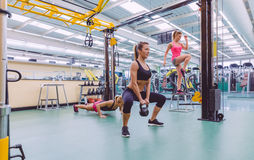 Women group training in a crossfit circuit Royalty Free Stock Images