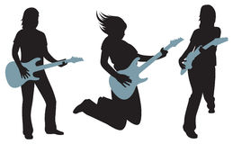 women with guitars silhouettes  on white Royalty Free Stock Photography