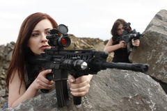 Women with guns Royalty Free Stock Image