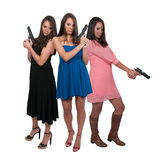 Women with Guns. Beautiful woman with loaded handgun pistols Royalty Free Stock Photos