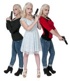 Women with Guns. Three beautiful woman with loaded handgun pistols Stock Photos