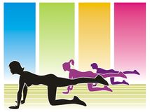 Women gym for fitness. Silhouettes of three women in the gym, with colorful backgrounds Stock Illustration