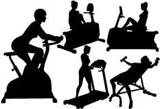 Women gym fitness exercise workouts. Fitness silhouette women in exercise gym work out on treadmill, bike, and barbells Royalty Free Stock Photos
