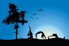 Women in gymnastics positions on hill near tree Royalty Free Stock Image