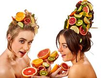 Women hair and facial mask and body care from fruits. Hair and facial mask and body care from exotic fruits for women on spa procedure concept. Fresh fruit on Royalty Free Stock Photography