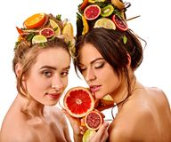 Women hair and facial mask and body care from fruits. Hair and facial mask and body care from exotic fruits for women on spa procedure concept. Fresh fruit on Stock Photography